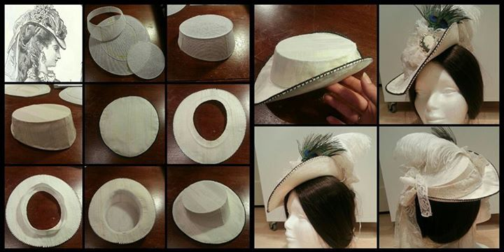 Instructions and hat by Angela Mombers  The Victorian hat instructions 1.  Example 2. Whip stitch millenary wire around the buckram pieces 3. Build  crown 4. cec7b774d06c