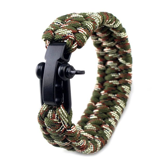 outdoor camping paracord survival bracelets with metal clasp emergency tool  HC