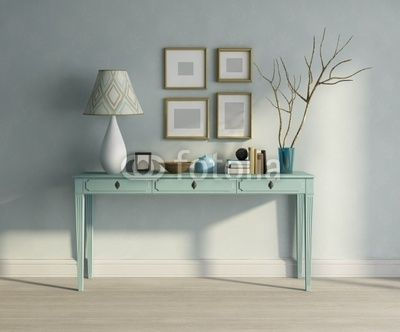 Captivating Blue Turqoise Console Table Interior