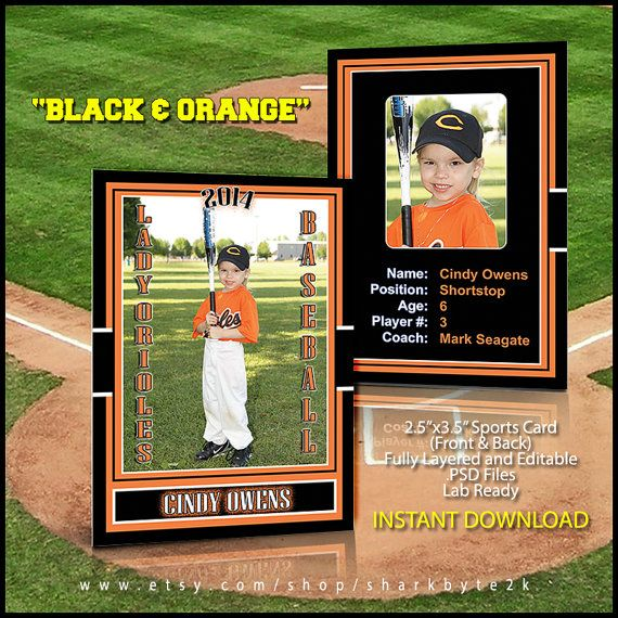 2020 Baseball Sports Trader Card Template For Photoshop Black Etsy Baseball Card Template Baseball Cards Baseball