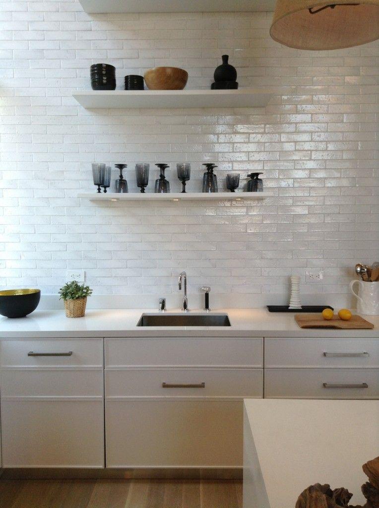 Brick tiles  White kitchen White metro ...