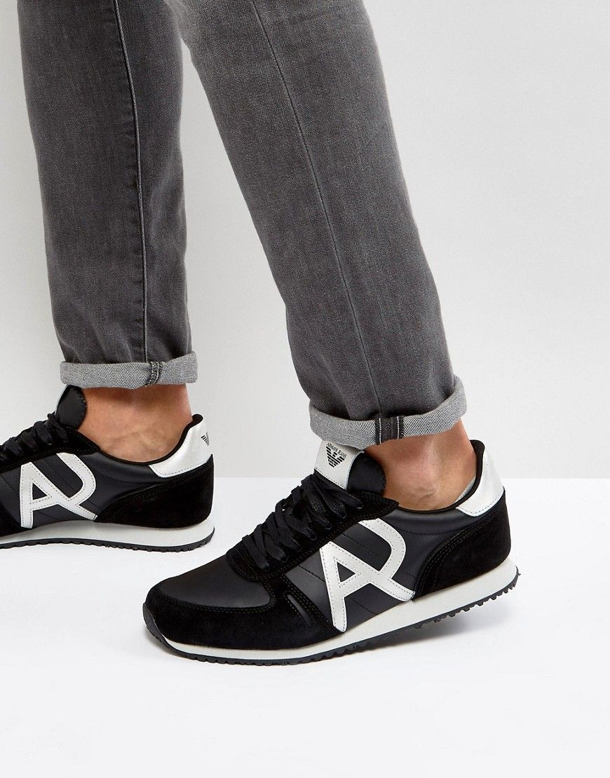 best website 8a8d8 a3e26 ARMANI JEANS SILVER LOGO RUNNER SNEAKERS - BLACK.  armanijeans  shoes