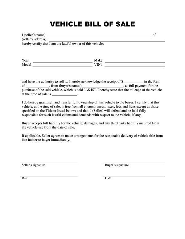 Printable Sample Vehicle Bill Of Sale Template Form | Laywers