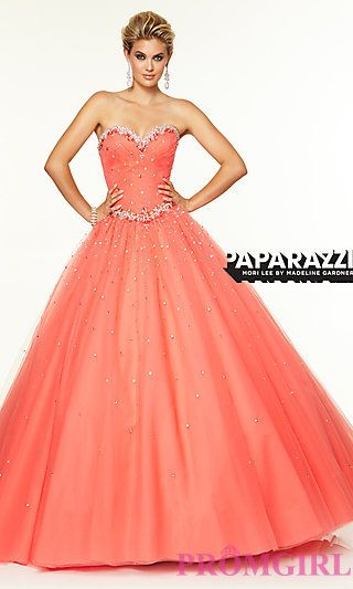 Floor Length Strapless Sweetheart Dress by Mori Lee at PromGirl.com