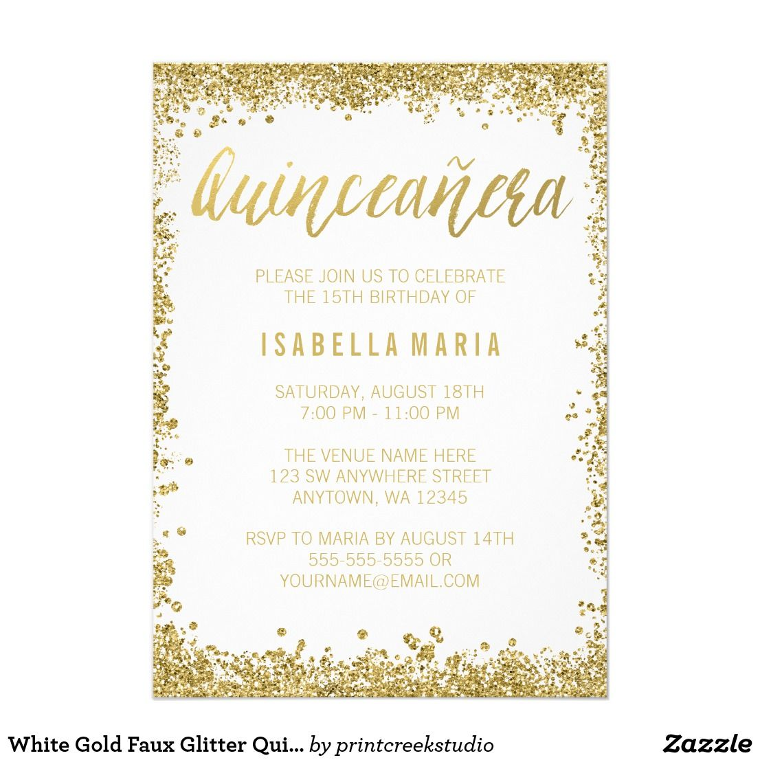 White Gold Faux Glitter Quinceanera 15th Birthday Card | Quinceanera ...
