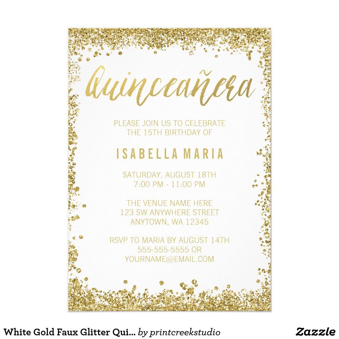 White Gold Faux Glitter Quinceanera 15th Birthday Card Modern white ...