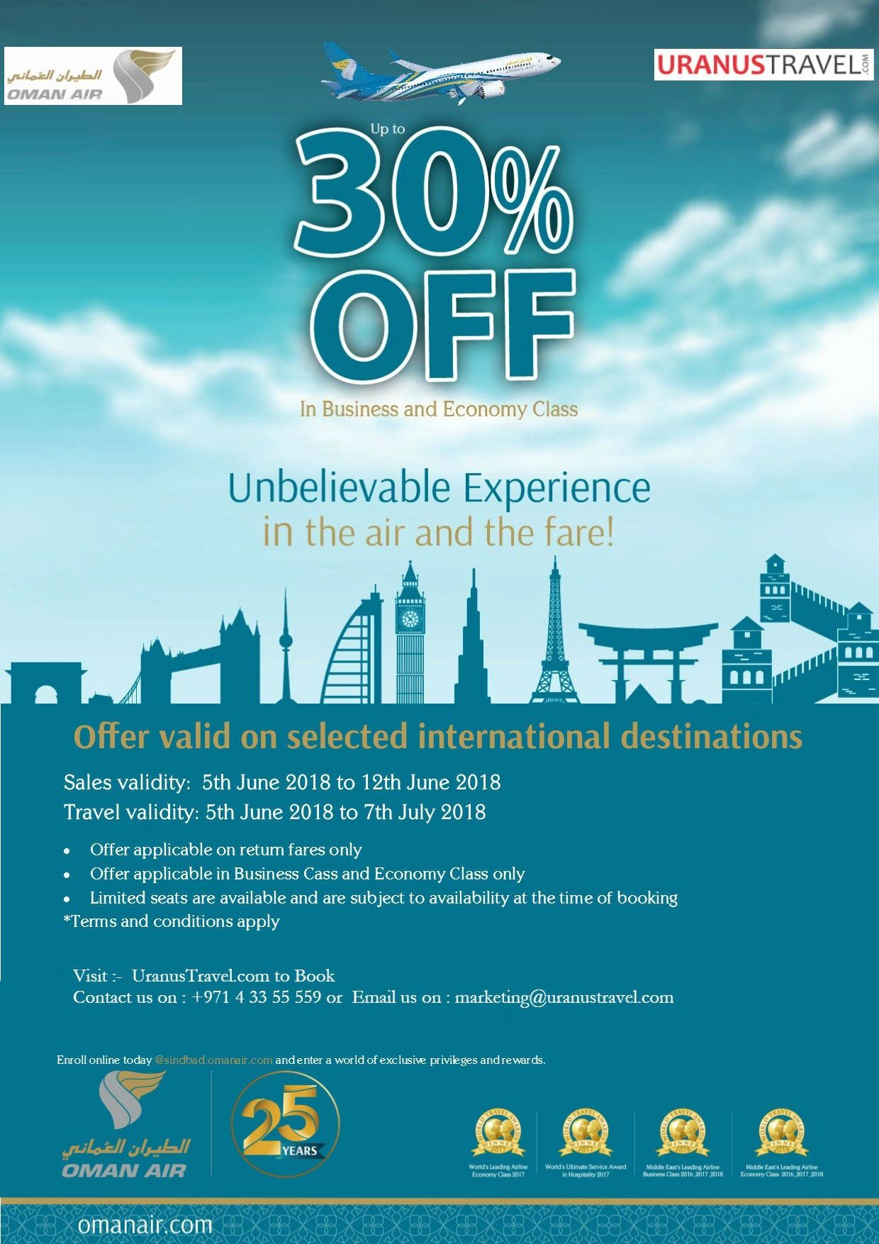 Deal of Week! Limited offer Travel to India, Pakistan or