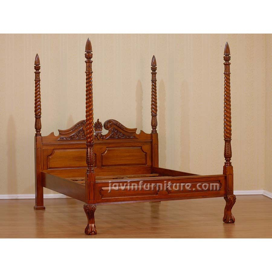 the 4 poster queen canopy bed made from solid mahogany wood with beautiful carving this - 4 Post Bed Frame