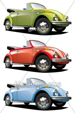 Stock Photo Icon Set Old-fashioned Cars VW Beetle - Image ...