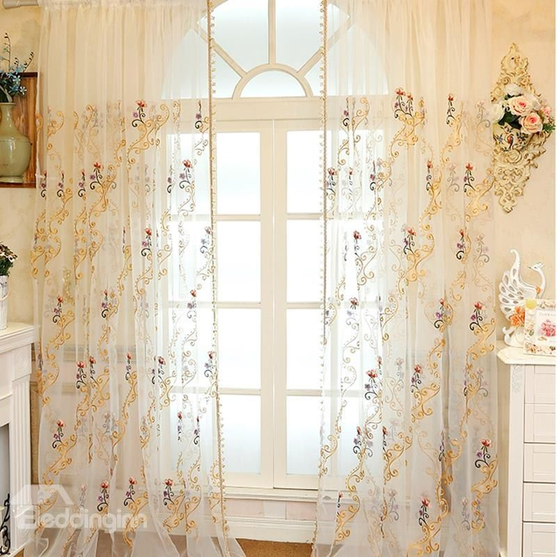 elegant chenille materials with embroidered flowers sheer curtain rh pinterest com