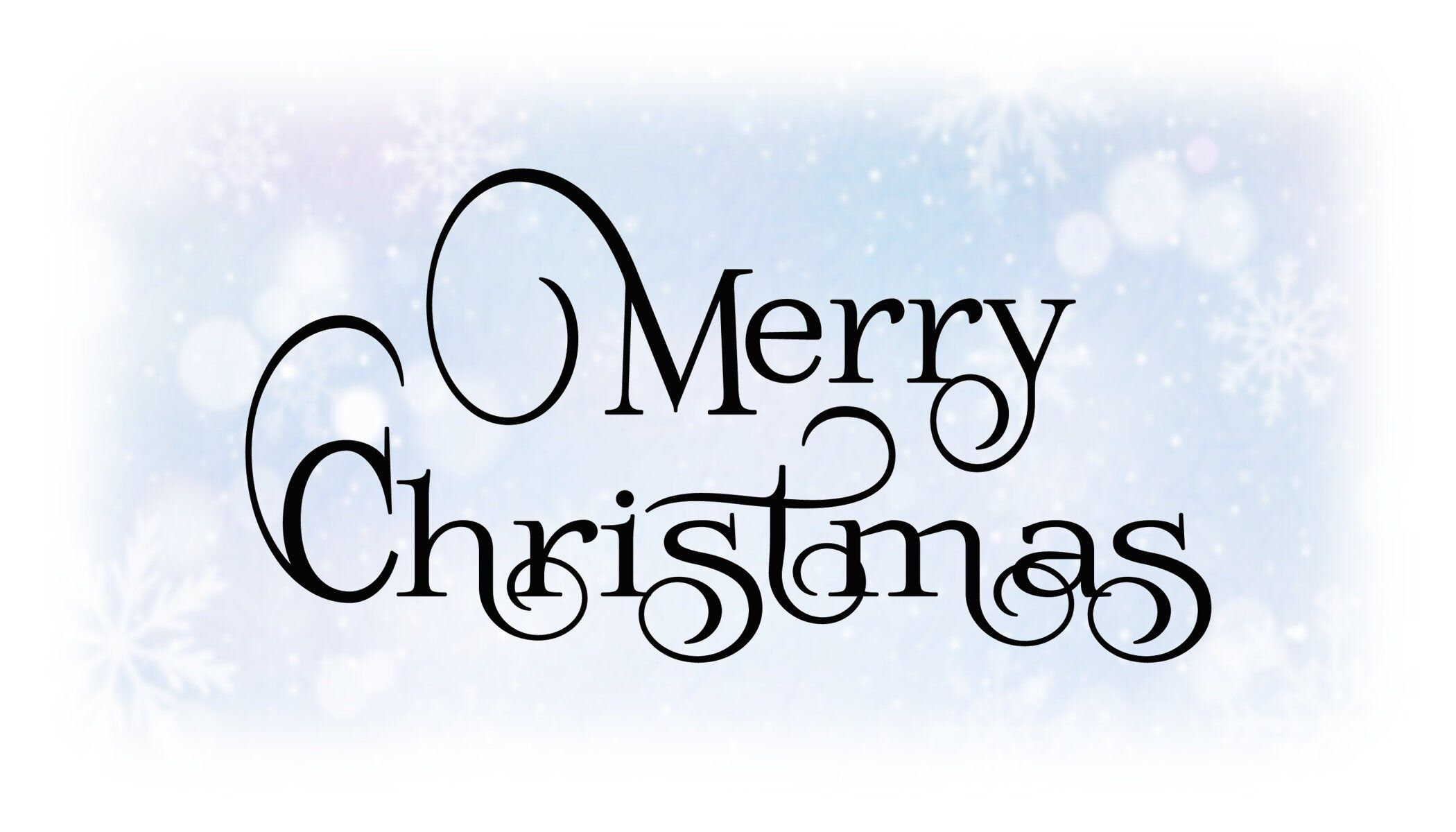 """Holiday ClipArt Black & White """"Merry Christmas"""" Words in"""