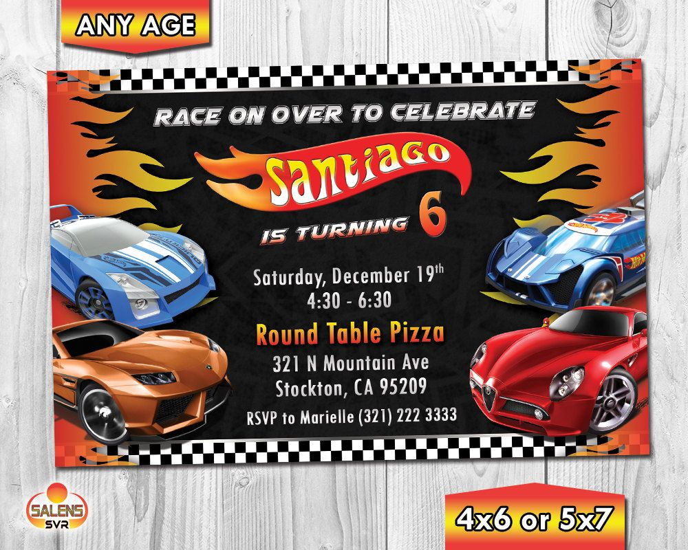 Hot Wheels Birthday Invitation Hot Wheels Invitation Hot