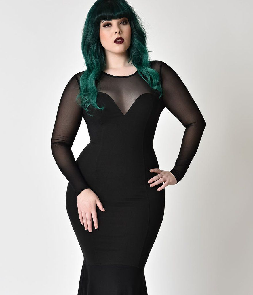 Collectif plus size black fishtail morticia wiggle gown