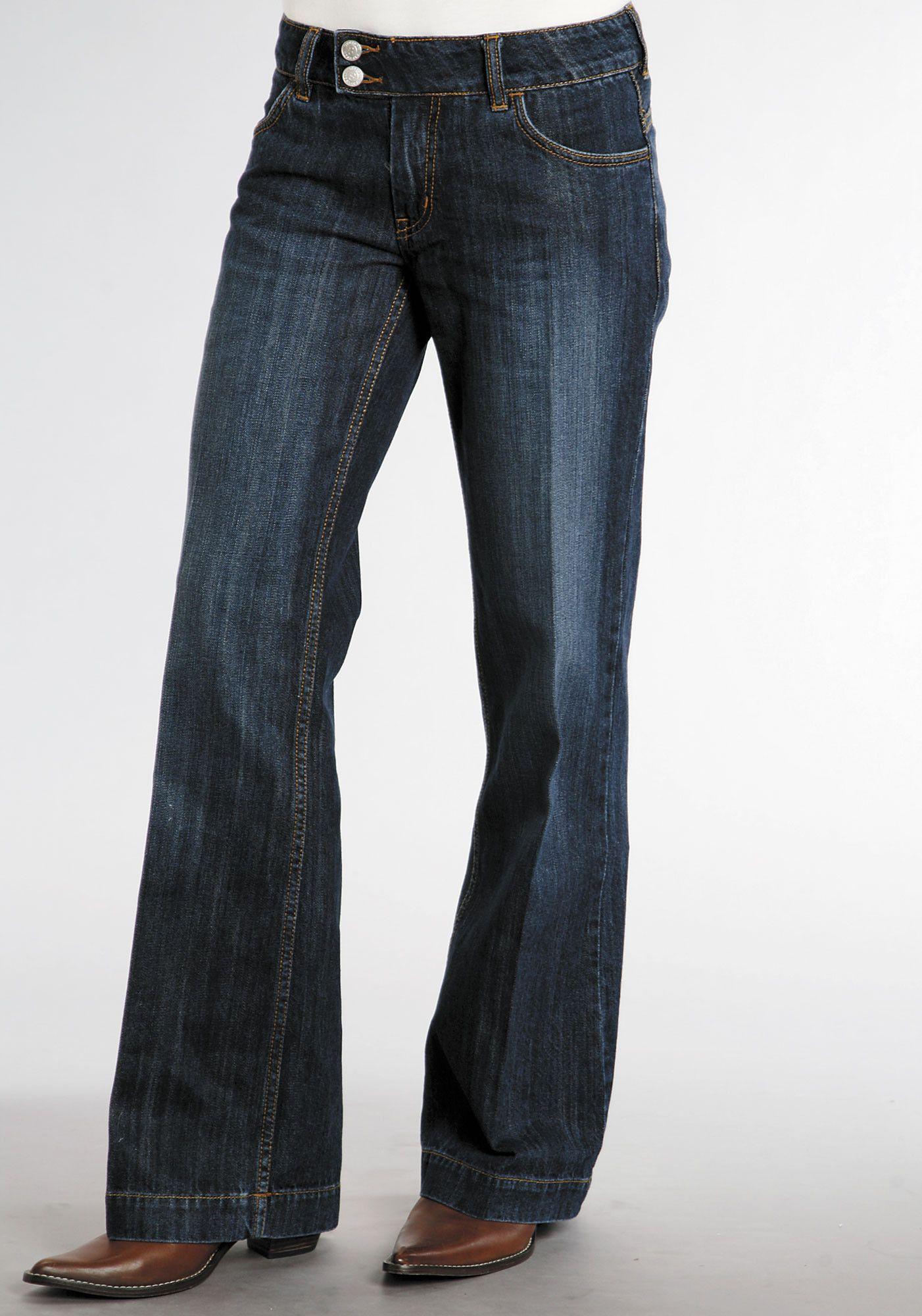 Stetson Womens Blue 100% Cotton Dark Wash City Trouser Flared ...