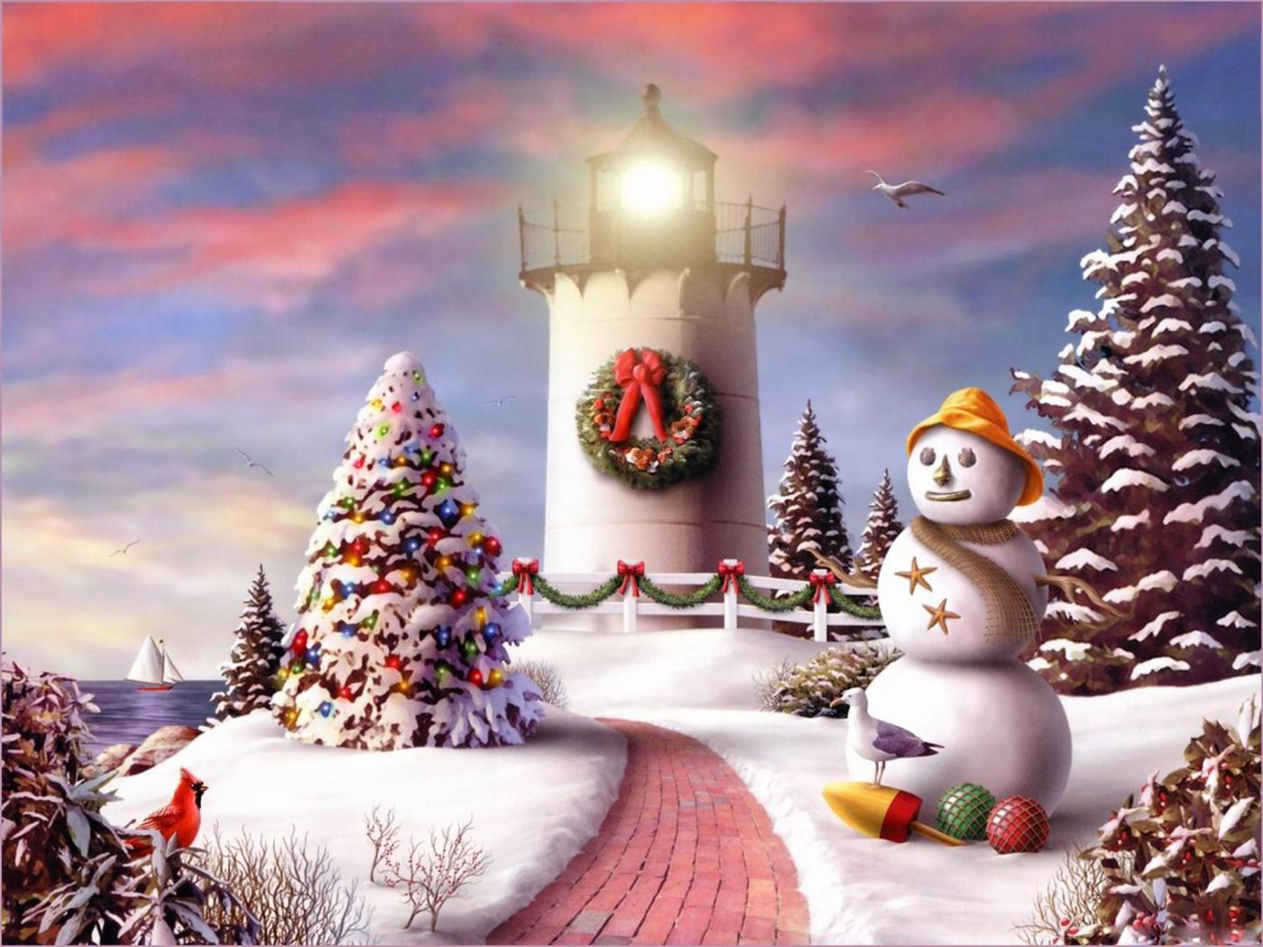 christmas lighthouse art Free Download 2010 Christmas