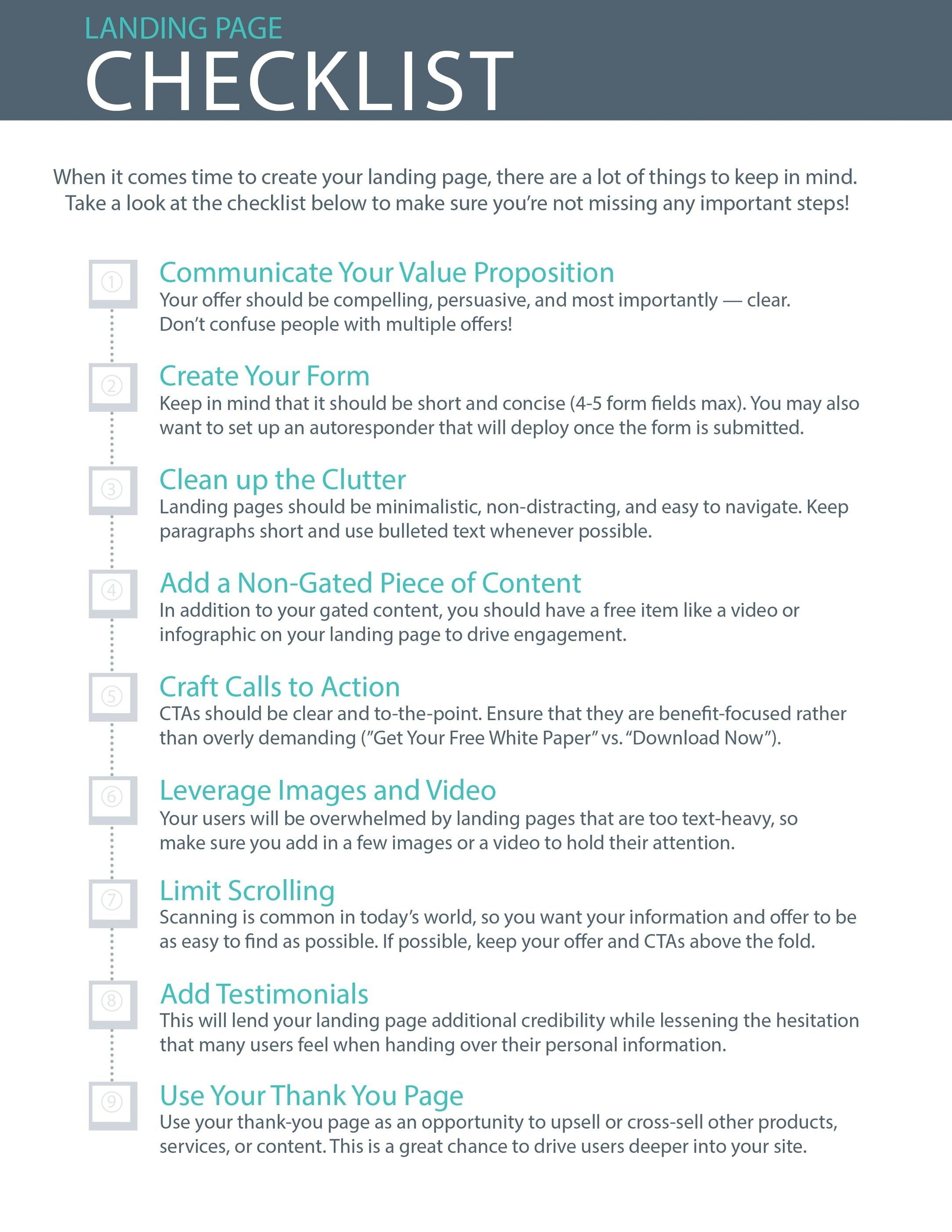 Infographic Your Essential Landing Page Checklist