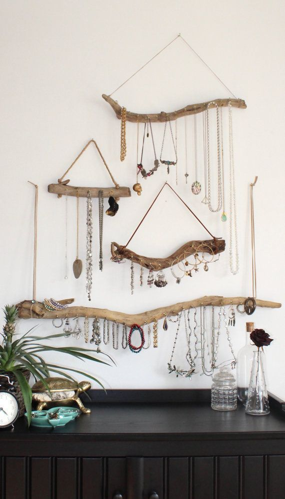 Natural driftwood turned wall mounted jewelry organizer Create an