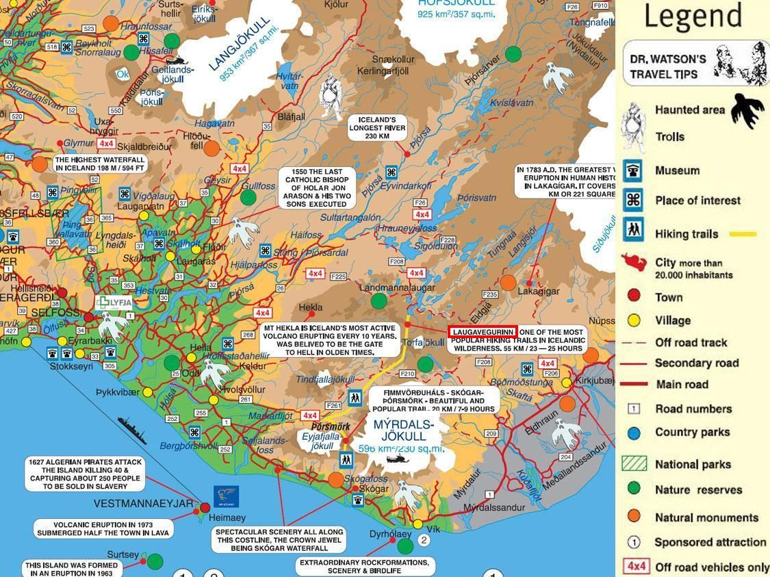 Map of southern iceland with hiking trails iceland pinterest map of southern iceland with hiking trails gumiabroncs Gallery