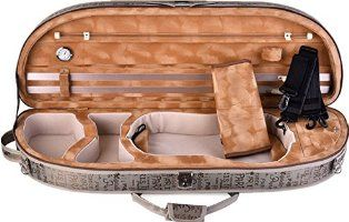 ADM Full Size 4/4 Half Moon Oblong Shape, Deluxe Lightwight Sturdy Violin Carry Case with Hygrometer and Leather Strap, Letter Raincoat Fabric
