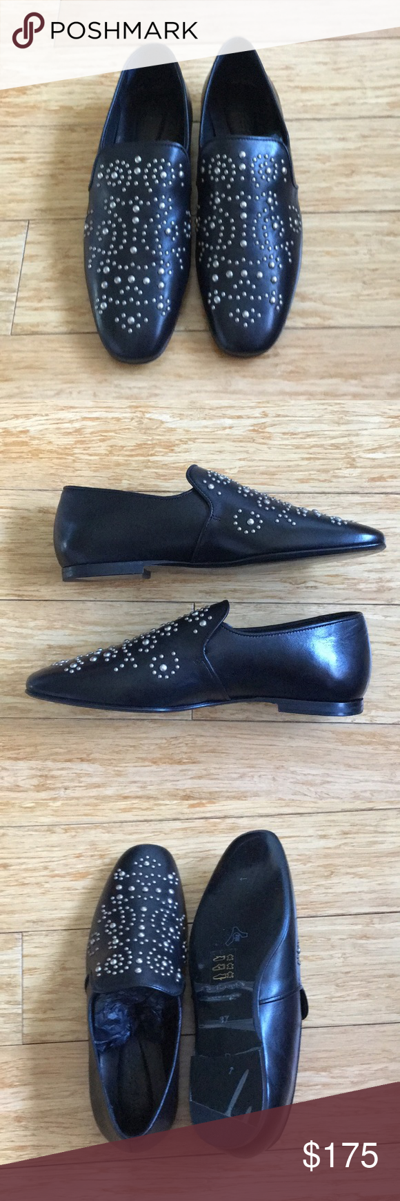 The Kooples Black Leather Studded Loafers Size 37 Studded Loafers Black Leather Dress Shoes Men [ 1740 x 580 Pixel ]