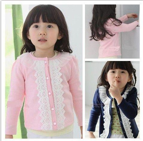 Free shipping baby grils long-sleeve t-shirt lace O-neck casual t-shirt 5pcs/lot  C03 $31.40