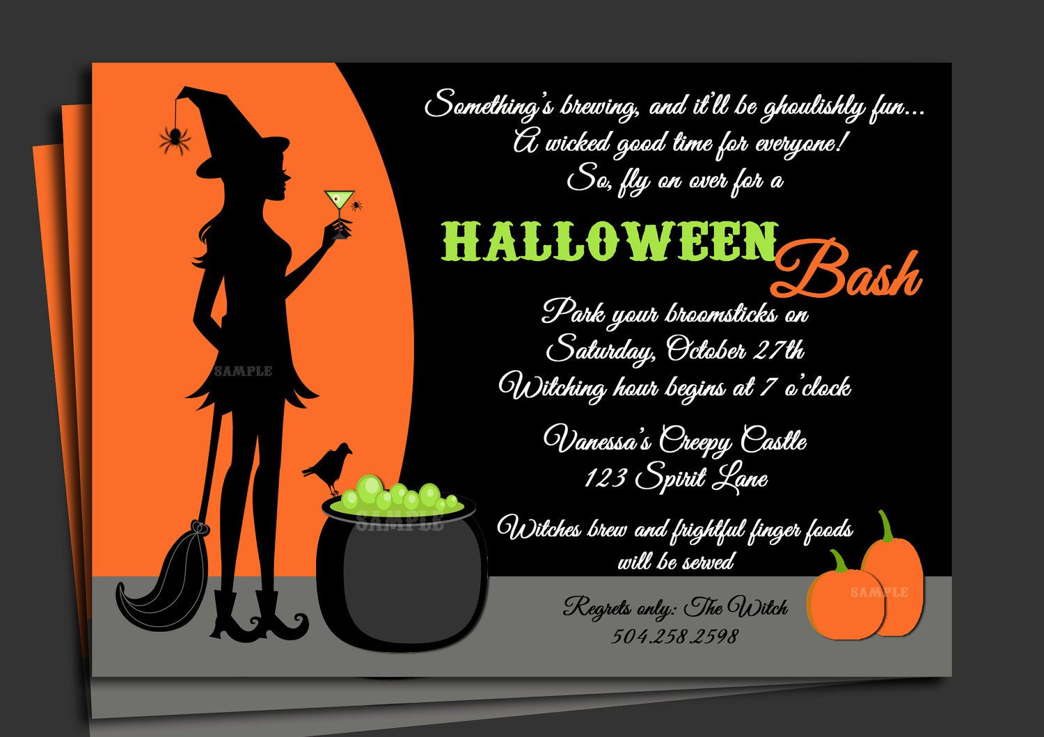 Crazy Creative Halloween Party Invitation Wording Idea with Orange ...