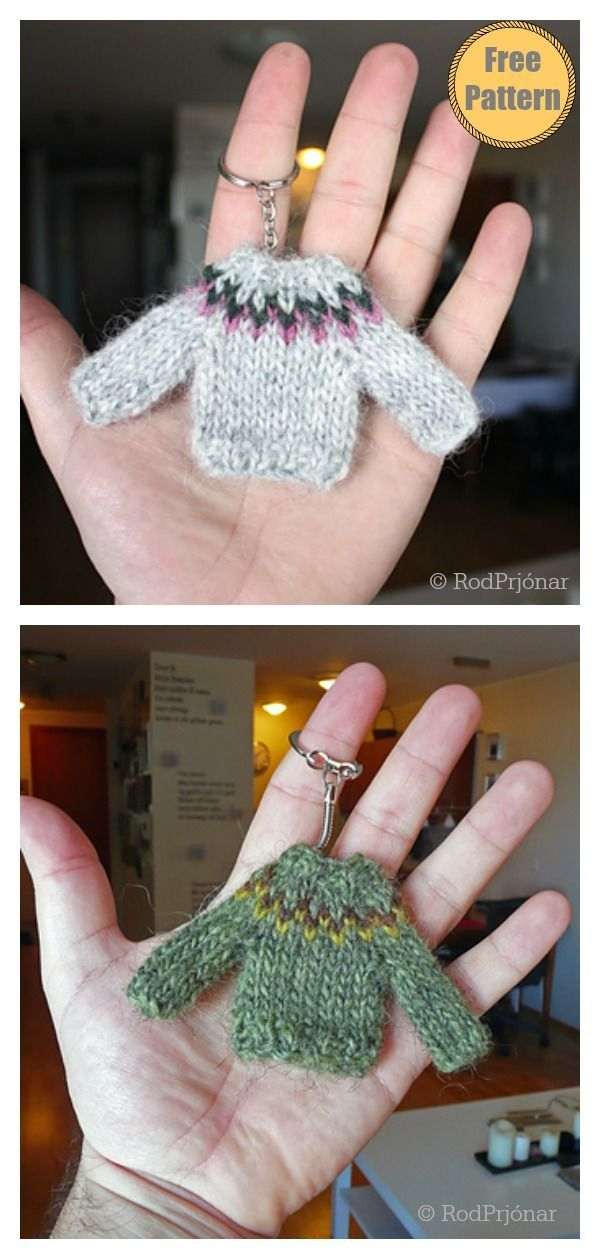 Photo of Mini Sweater Ornament Keychain Free Knitting Pattern #startknittingfreepattern #…
