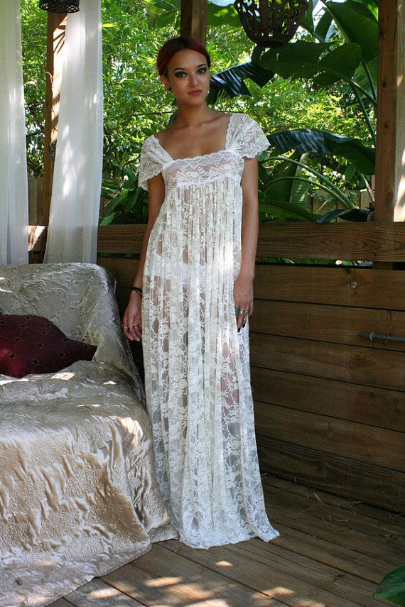 f9f4d3b215 Sheer Lace Bridal Nightgown Wedding Lingerie Romance Boudoir Honeymoon Off  Shoulder Drop Cap Sleeve Sleepwear