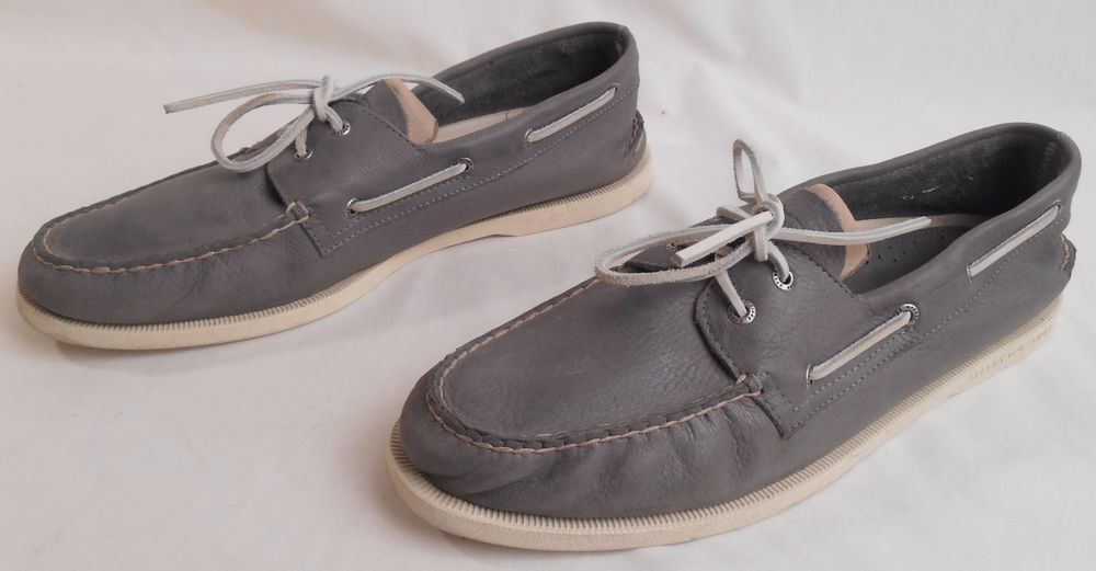 SPERRY TOP- SIDER Men's Size 14 M Gray Leather Boat Shoes ...