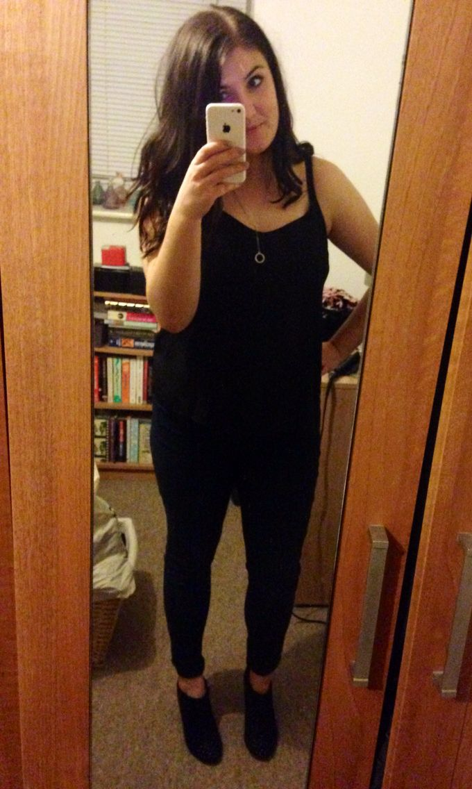 Night out - chiffon cami, skinny jeans and studded booties