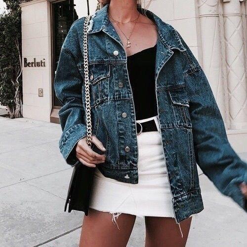 Street style: denim oversized jacket with a black tank top