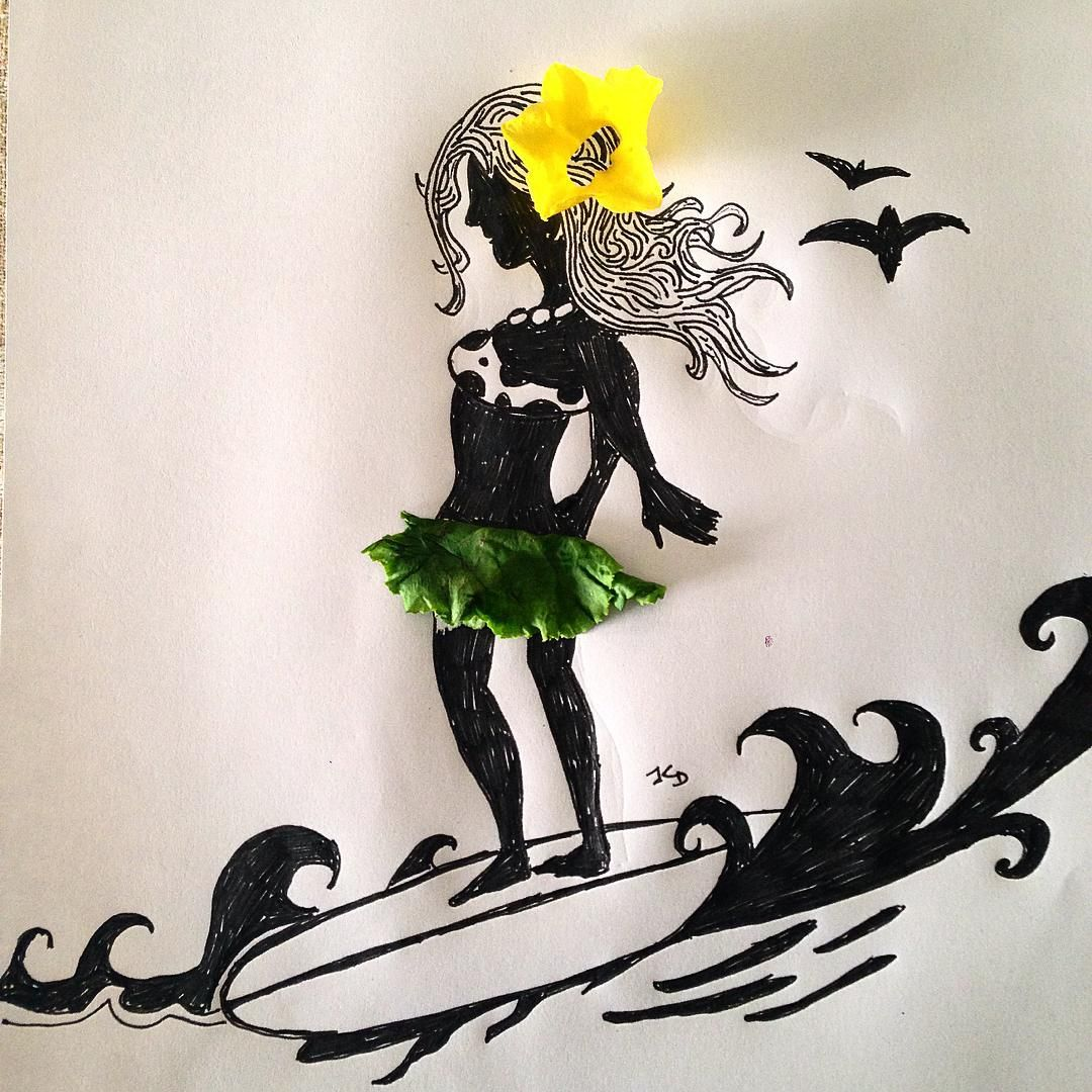 Flower in her hair and a lettuce skirt, the Hawaiian girl would try to flirt, the waves beneath her feet, and sing Maui songs all night long, if you really cared to meet. #art #artwork #lettuce #lettuceleaves #flower #yellowflower #hawaii #hawaiingirl #maui #mauilife #mauisongs #everydayart #objectart #doodles #drawing #beachbody #surfing #surfsup #silhouette_creative #silhouettes #instaart #illustrations #ideas_in_picture #and_draw_something #sketch #creative #poetry #nofilter #original…