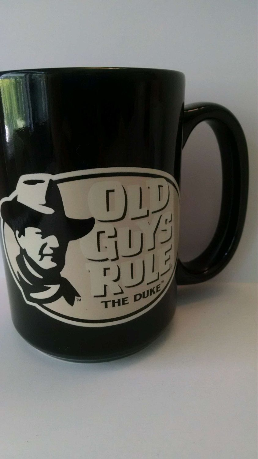 Authentic Tall John Wayne Black Coffee Mug Old Guys Rule By Sunnydayscollectible On Etsy