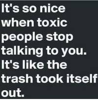Memes Trash And Nice It S So Nice When Toxic People Stop Talking To You It S Like The Trash Took Itself Out Life Quotes Badass Quotes Words