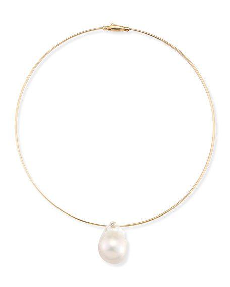Medium Single Pearl Collar Necklace
