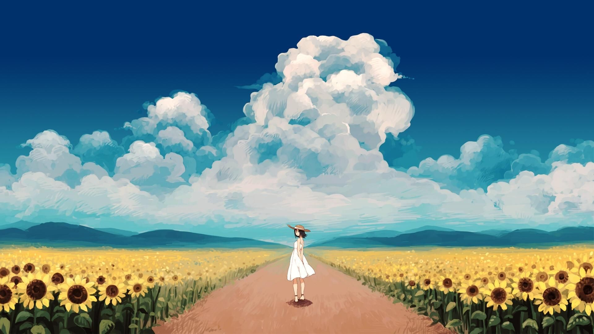 Anime Sun Flower Field 1920x1080 Anime Scenery Landscape Wallpaper Scenery