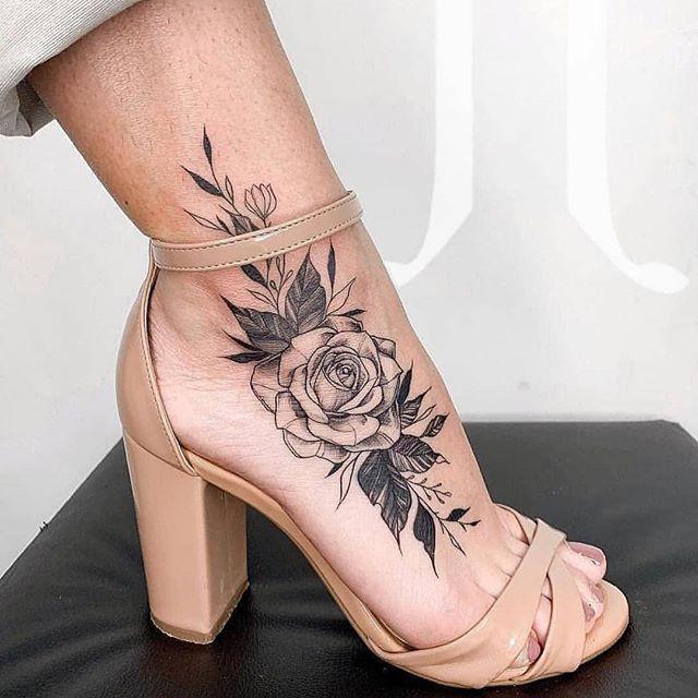 Rose Tattoo Ankle Tatuaggi Tatuaggi Per Le Donne