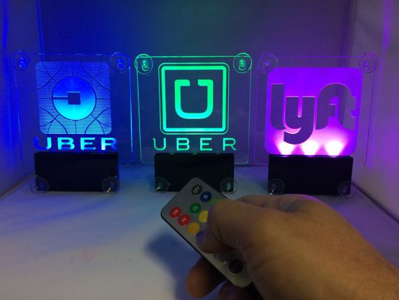 LED Light Logo Sticker Decal Glow U ber L yft Lithium Battery Power Wireless Decal Accessories Removable U ber Glowing Sign For Car Taxi Rideshare Sign