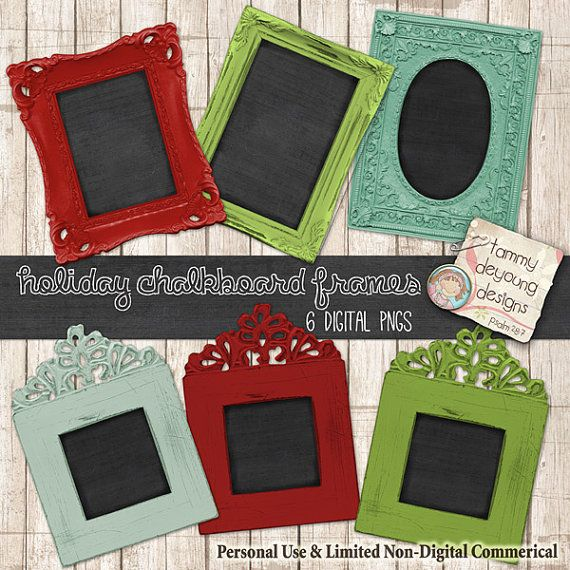 Chalkboard Frames Digital Clip art Shabby Chic Christmas for invitations, announcements, tags scrapbooks, photocards, paper crafts #411