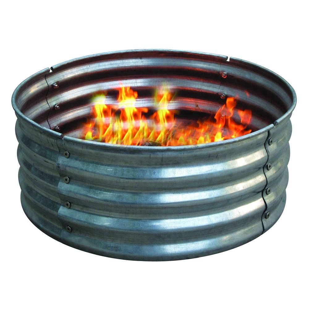 30 In Round Galvanized Steel Fire Pit Ring Ds 18727 The Home Depot Steel Fire Pit Ring Fire Pit Ring Fire Pit
