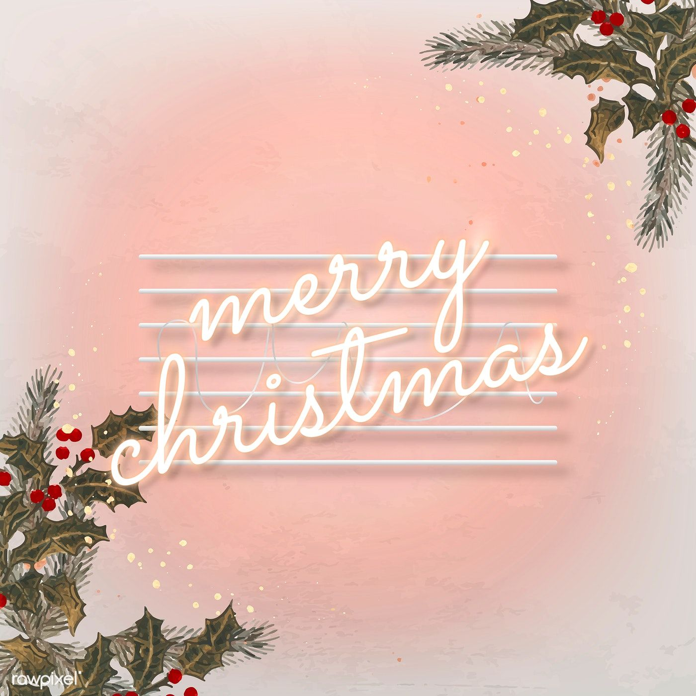 Download Premium Vector Of Pink Neon Text With Mistletoes Social Ads Christmas Card Images Xmas Wallpaper Christmas Templates