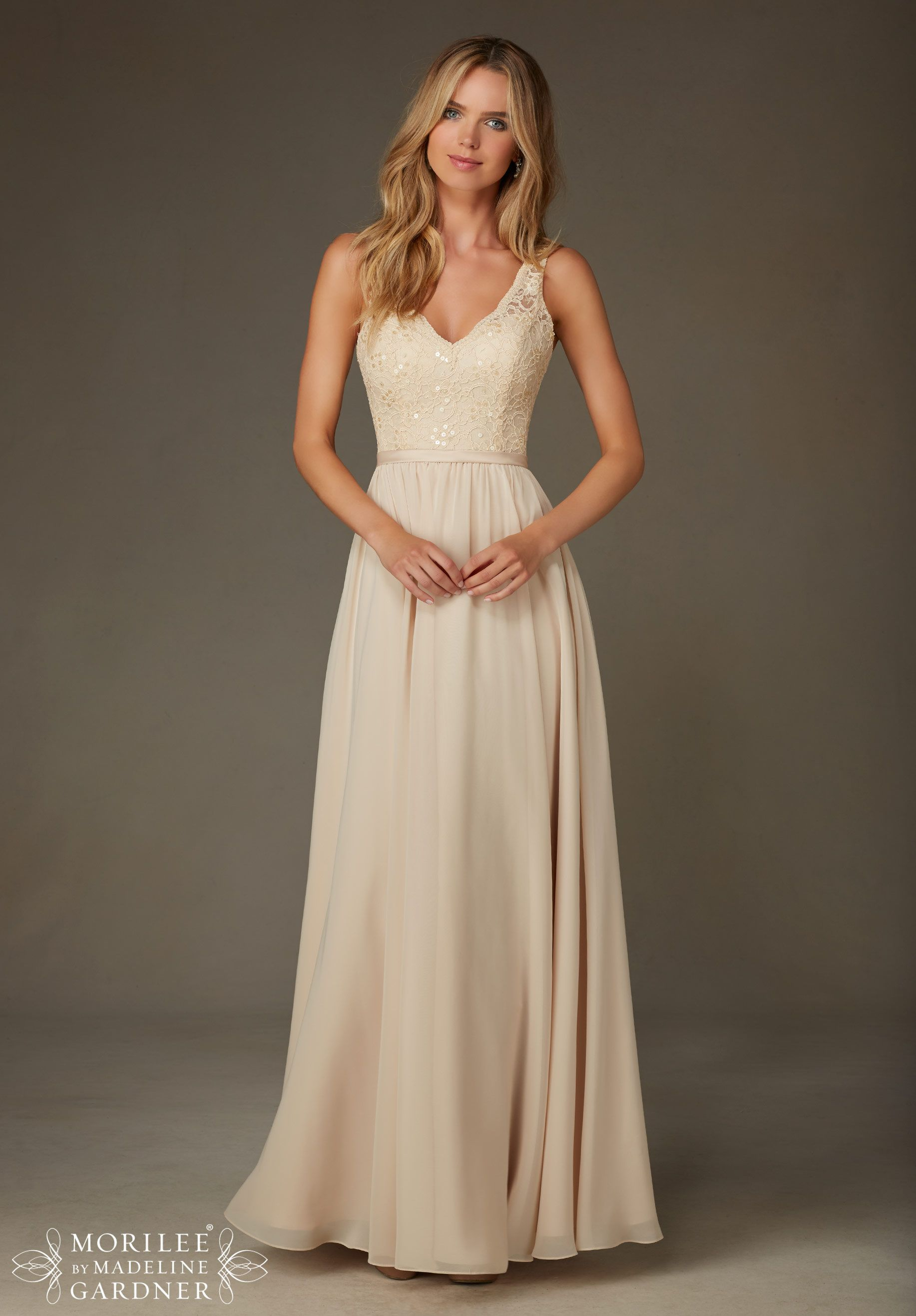 f20109811ed Bridesmaids Dresses Beaded Lace with Chiffon Available in all Mori Lee  Solid Lace Bridesmaids colors.