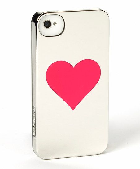 Silver Chrome Pink Heart Snap-On Case for iPhone 4/4s