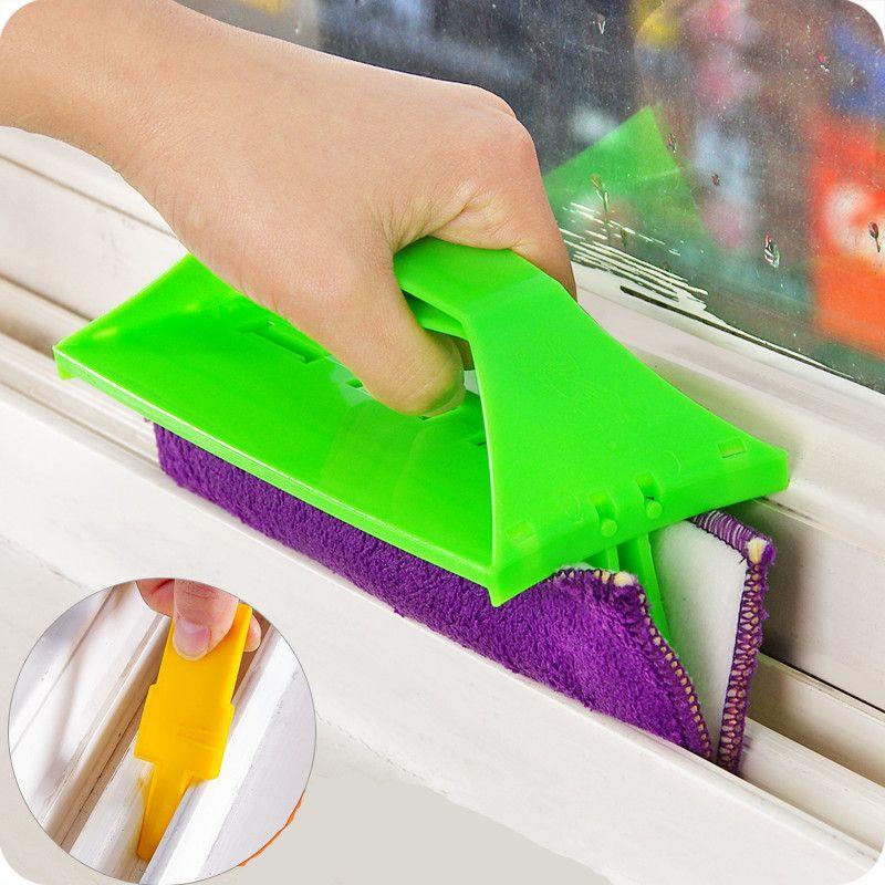 Handheld foldable glass cleaning wipe window groove gap