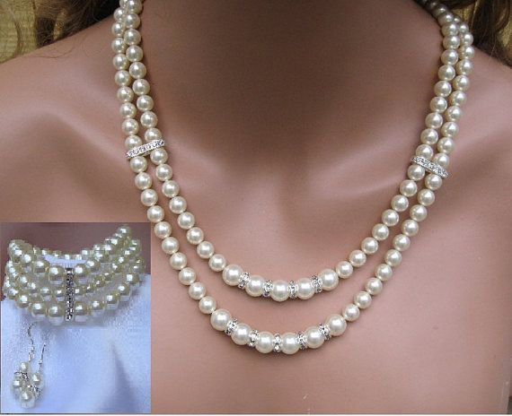 Hey, I found this really awesome Etsy listing at https://www.etsy.com/listing/264011691/pearl-bridal-necklace-set-double-strand