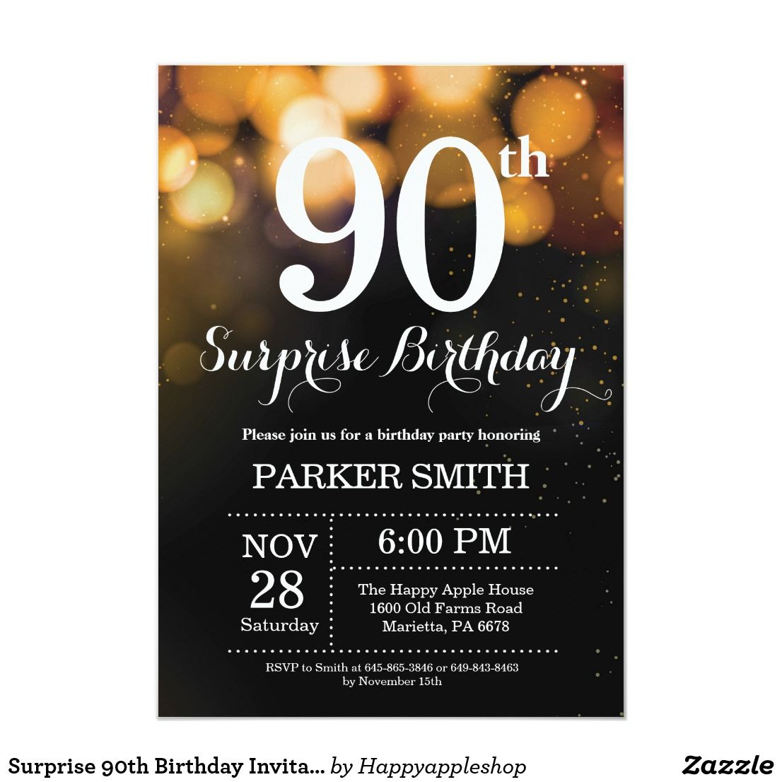Surprise 90th Birthday Invitation Gold Glitter Zazzle