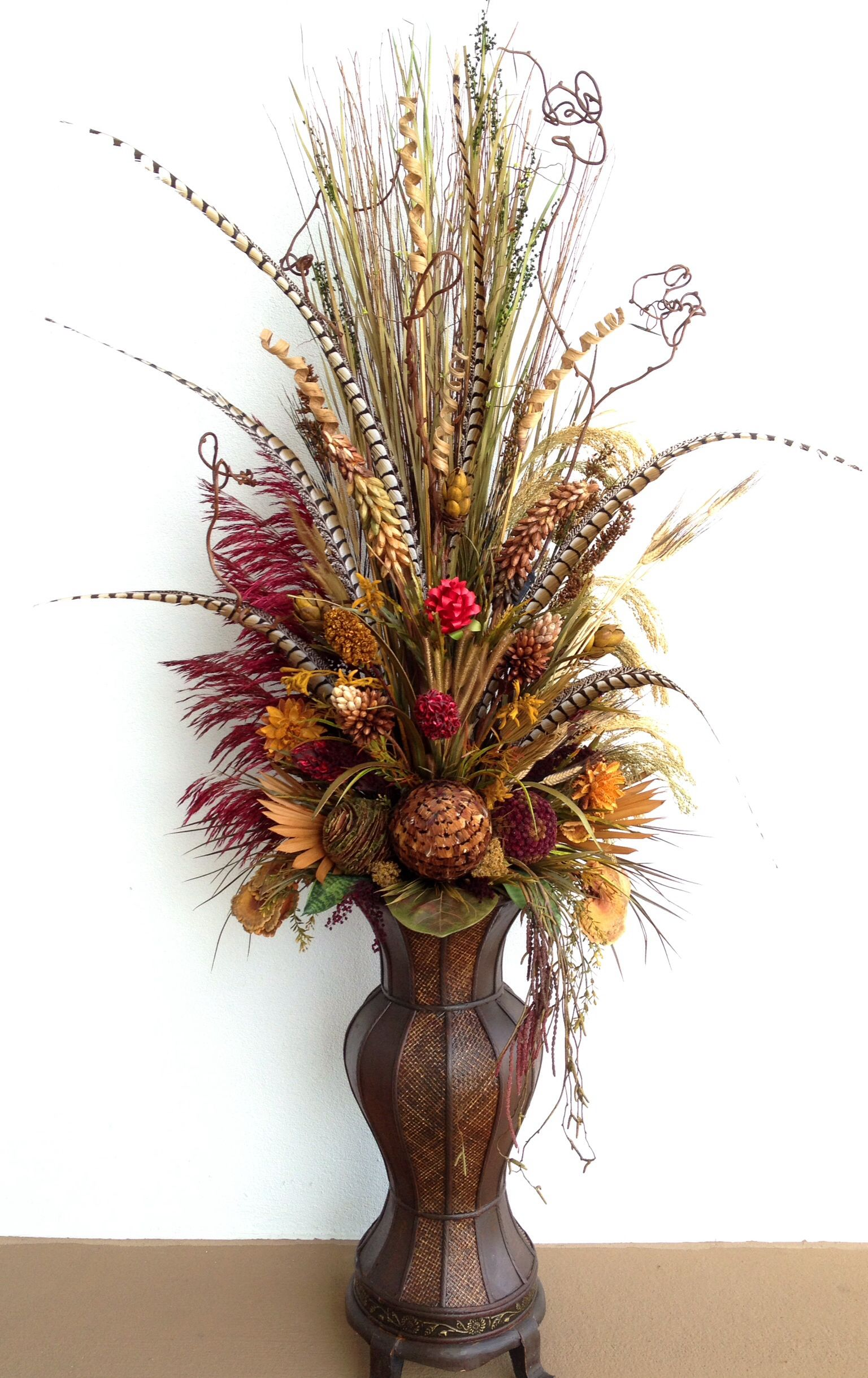 Six Feet Tall Dried Floral Arrangement With Pheasant Feathers By