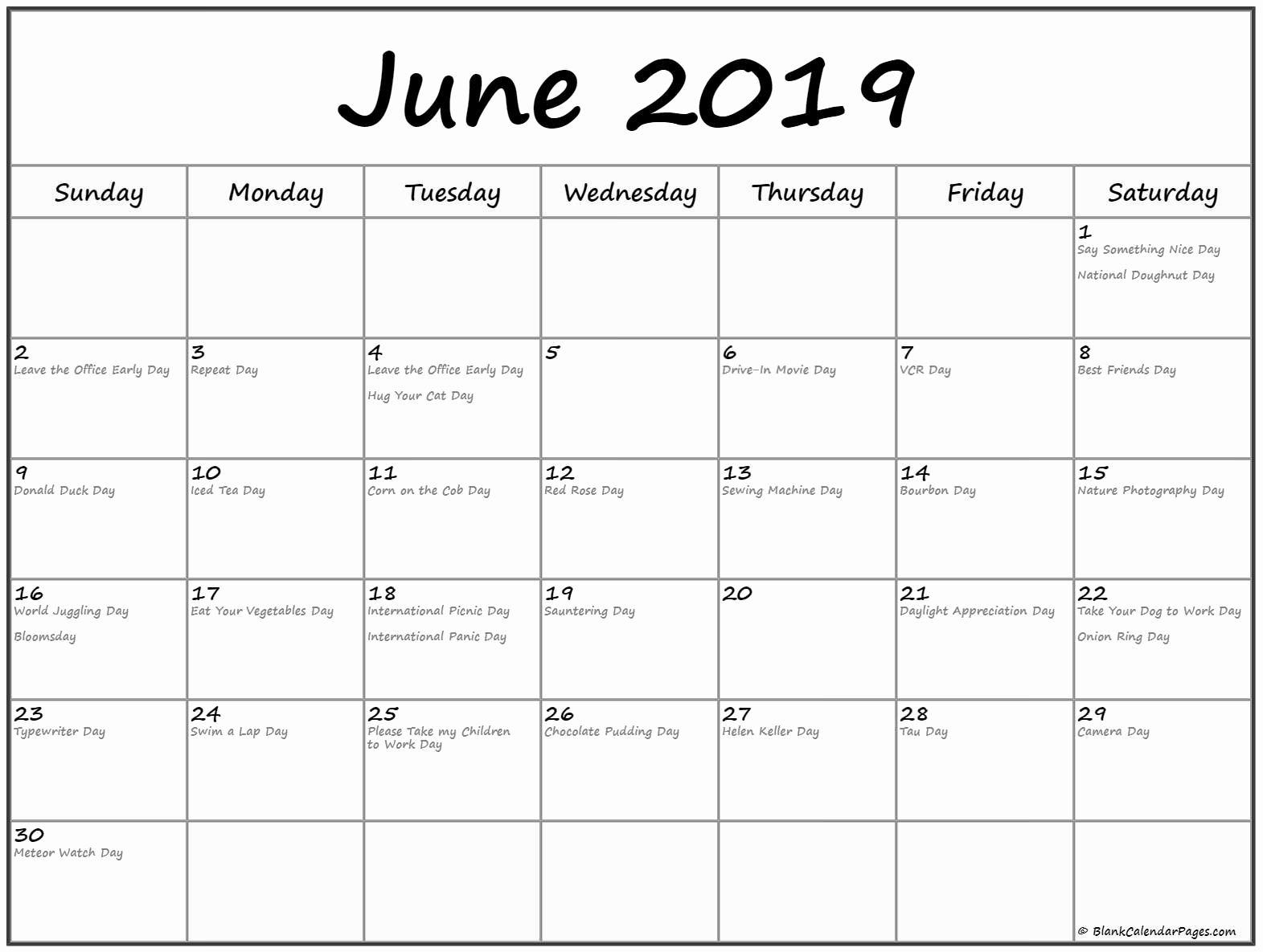 June 2019 Calendar With Holidays Printable Template With