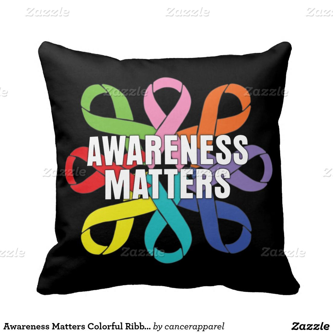 Awareness matters colorful ribbons throw pillows cancer awareness