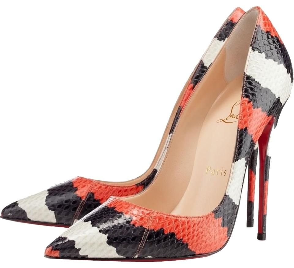 67ca4ad51b93 Christian Louboutin Black Orange White Python Leather Snakeskin So Kate 36  6 Red Pumps. Get the must-have pumps of this season!